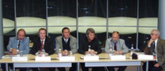Winfried Roll, Dr.-Ing. Jörg Krüger, Carsten Baeck, Wolfgang Wieland (MdA),  Wolfgang Both, Moderator Alfred Eichhorn (v.l.)