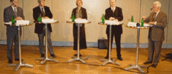 Rudi Grimm, Wolfgang Wieland, Susanne Bauer, Jörg Krüger, Alfred Eichhorn (v. l.)