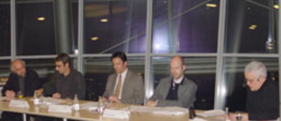 Peter Zombik, Phonoverband IFPI; Dr. Volker Grassmuck, Humboldt-Universität zu Berlin; Claus Grewenig, VPRT e.V.; Dr. Oliver Castendyck, Erich Pommer Institut;