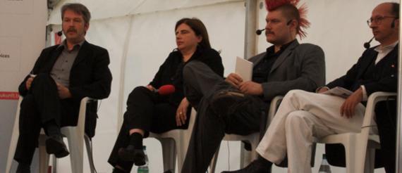 René Strien, Sibylle Lewitscharoff, Sascha Lobo, Detlef Bluhm (v.l.)