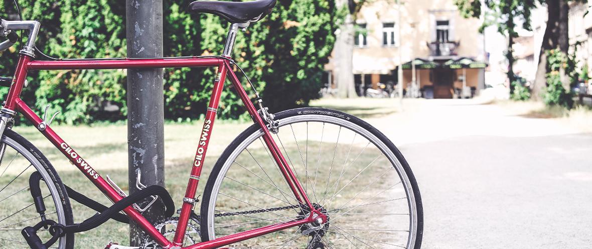 Fahrrad an Baum angelehnt
