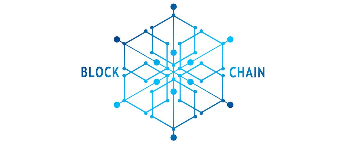 Blaue vernetzte Blockchain-Grafik auf weißem Hintergrund