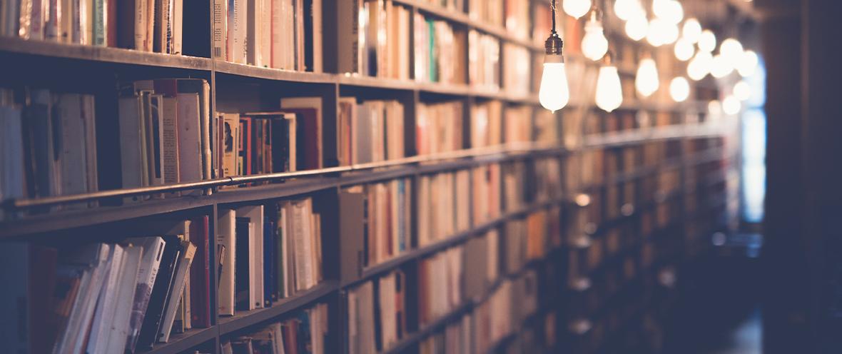 Langes Bücherregal und davor hängende Glühbirnen
