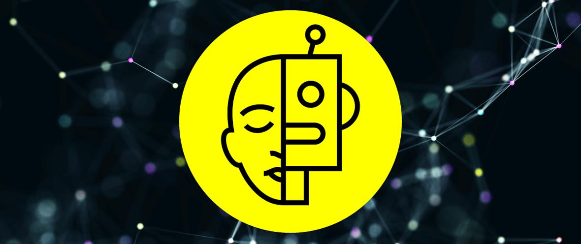 Gelbes Logo-Design mit halbem Gesicht von Mensch und Roboter auf dunklem Hintergrund