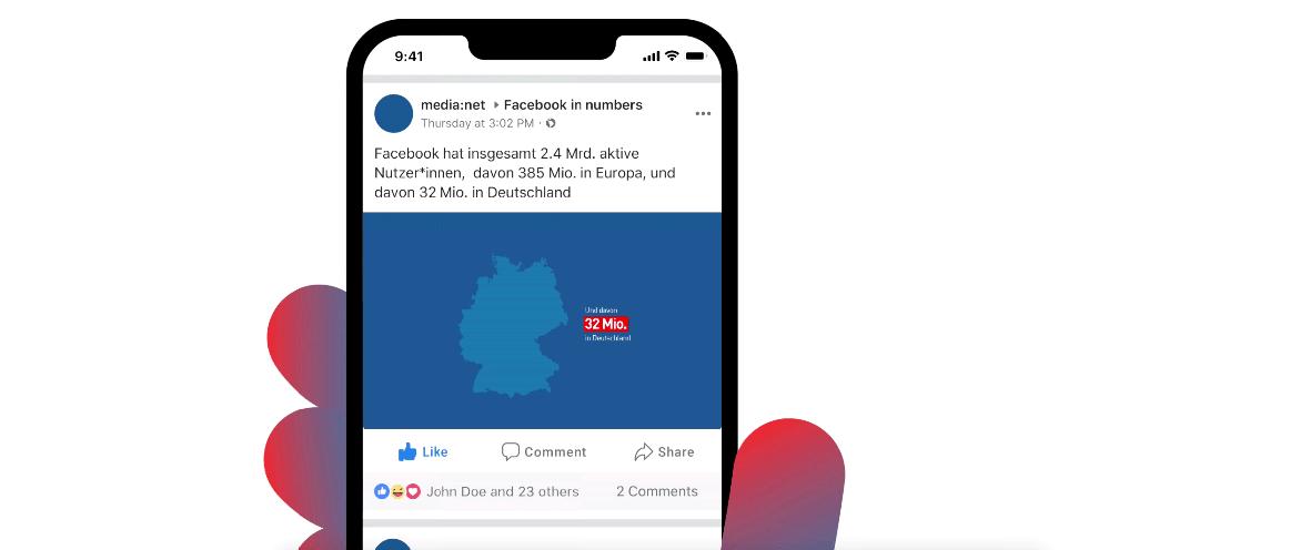 Illustration von einem Smartphone mit Facebook-Feed.
