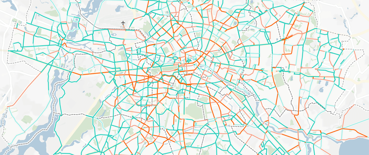 Karte mit Visualisierung der Berliner Radwege und ihrem Status laut FixMyBerlin