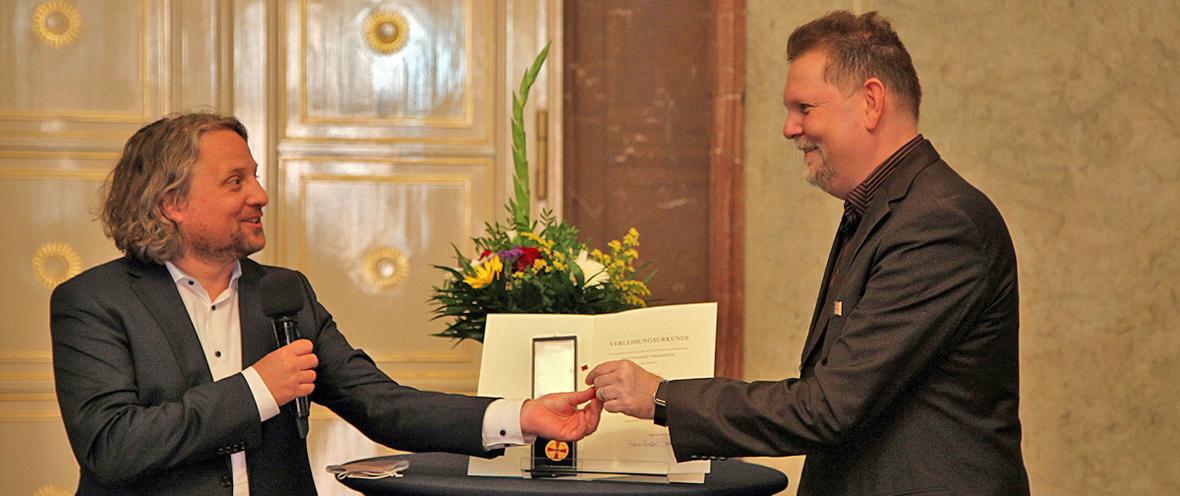 Wirtschaftsstaatssekretär Christian Rickerts und Ingo Horn © Projekt Zukunft, 2020